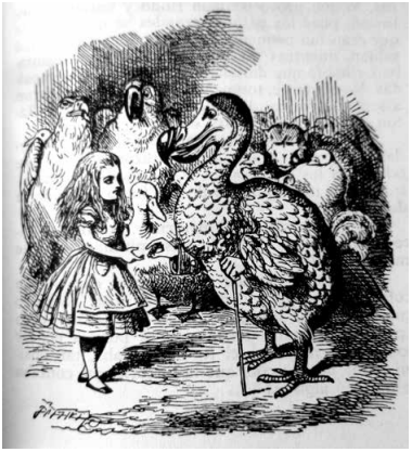 Alice accepting a thimble from Dodo