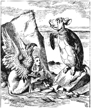 Mock Turtle telling his story to