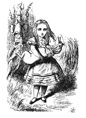 Alice holding the pig-baby
