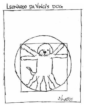 «El perro de Leonardo da Vinci». Derechos de autor Sydney Harris, ScienceCartoonsPlus.com