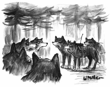 """""""We found her wandering at the edge of the forest. She was raised by scientists."""" Warren Miller, de CartoonBank.com. Derechos de autor, colección de The New Yorker, 1993. Todos los derechos reservados."""