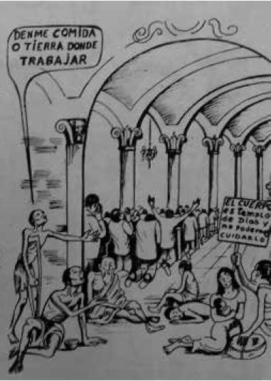 """""""Los cristianos y creyentes nos estamos reduciendo a las cuatro paredes del templo"""", ¡Escucha cristiano! p. 7, reproducida con el permiso de la Fundación del Sinú."""