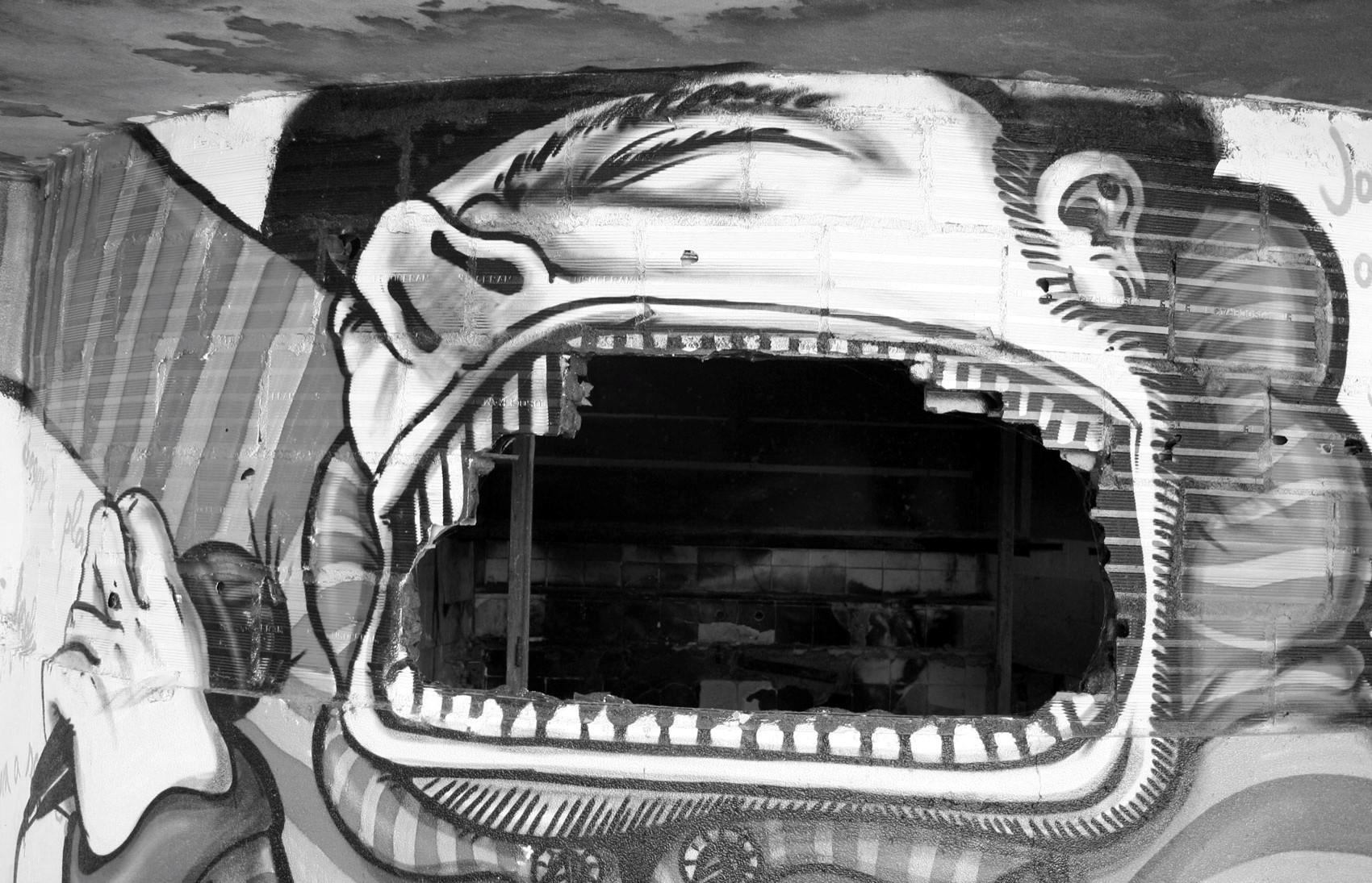 Detalle. Graffiti in abandoned hotel, Monte Estoril, Portugal - 2008