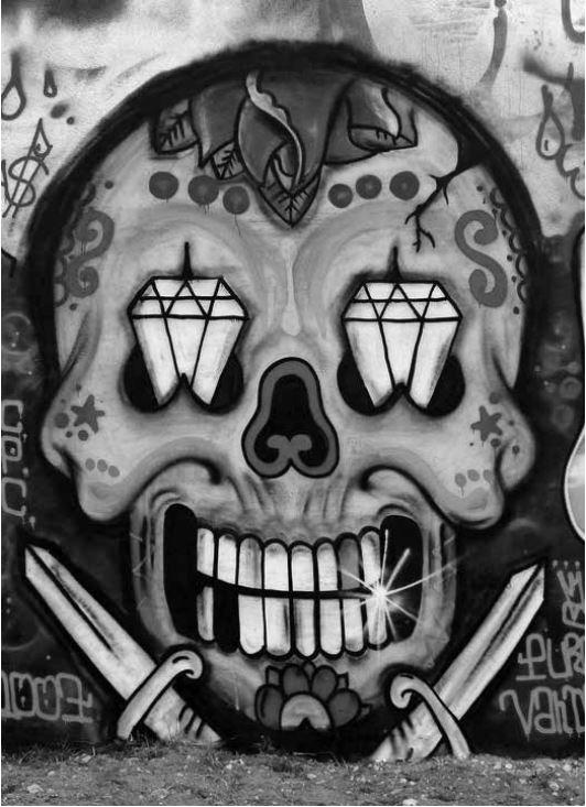 Detalle. Brilliant Graffiti Skull Mexican Style in Amoreiras Hall of Fame, Lisbon - 2007